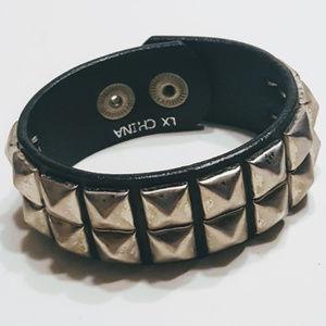 Hot Topic Goth Leather Metal Studs Bracelet Vtg.